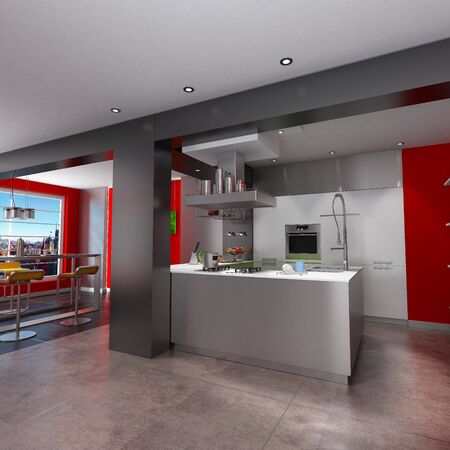 magnificent:  3D rendering of a magnificent  red and grey kitchen with breathtaking view