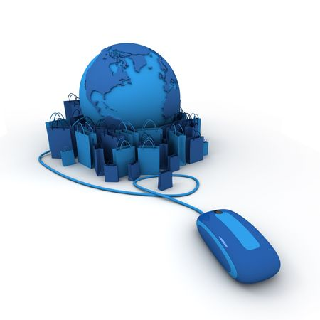 paper delivery person:  World globe connected to a computer mouse surrounded by shopping bags in blue shades  Stock Photo