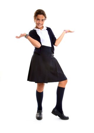 school uniform girl: Schoolgirl in uniform holding two invisible objects