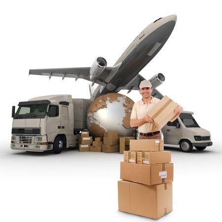 corriere:  Un messaggero con una mappa del mondo, pacchetti, un furgone, un camion e un aereo come sfondo