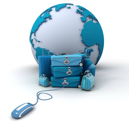 The Earth, a pile of luggage including suitcases, briefcases, golf bag, connected to a computer mouse in blue shades  photo