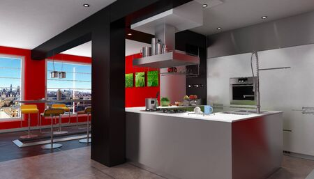 countertop:  3D rendering of a magnificent  red and black kitchen with breathtaking view  Stock Photo