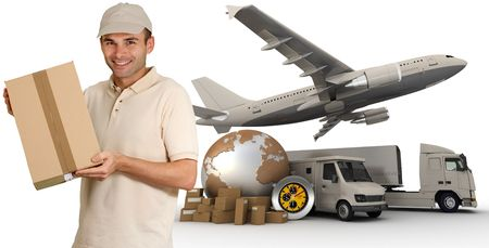Messenger with a background composed of  a world map, packages, a chronometer vans, trucks, and an airplane  photo