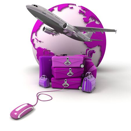 The Earth, a plane taking off, a pile of luggage including suitcases, briefcases, golf bag, connected to a computer mouse in purple and pink shades  photo