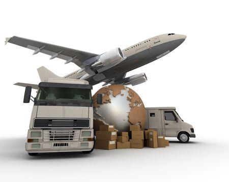 embarque:  Representaci�n 3D de un mapa del mundo, paquetes de una camioneta, un cami�n y un avi�n  Foto de archivo