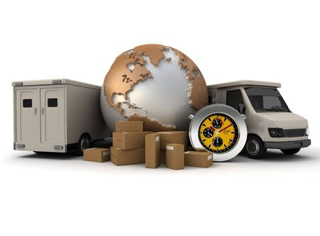 goods:  3D rendering of a world map with packages; a chronometer and two delivery vans;