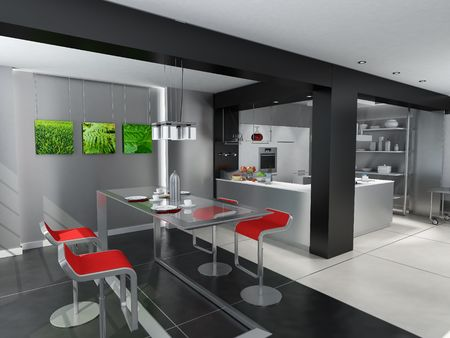 dinning table:  3D rendering of a modern kitchen with an attached dinning room