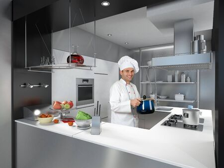garb:  Smiling chef in a modern industrial metallic kitchen holding a casserole