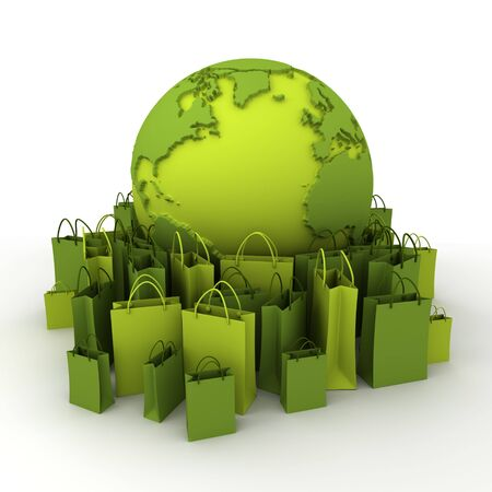 World globe surrounded by shopping bags in green shades