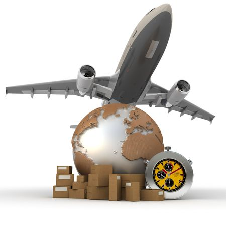 freight transportation:  3D rendering of  a world map, packages, a chronometer and an airplane