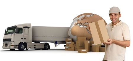 A messenger with a world map, packages and a truck as background Stock Photo - 6483349