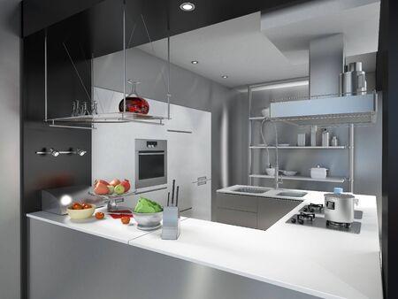 3D rendering of a modern industrial kitchen island