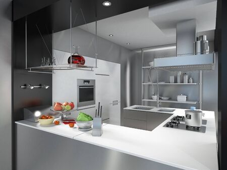 cocinas industriales:   Representaci�n 3D de una isla de cocina industrial moderna   Foto de archivo