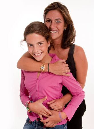 Isolated image of a mother and daughter in a happy embrace  photo