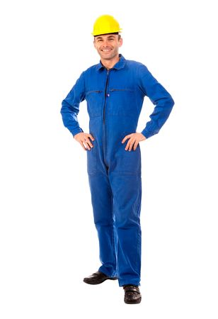 coveralls:  Isolated portrait of a workman with blue coveralls and hardhat