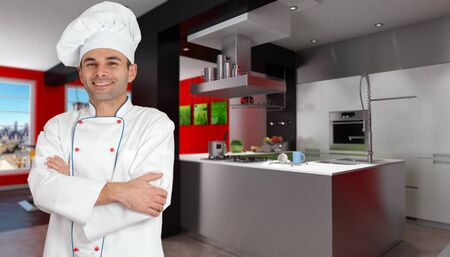 countertop:  Smiling chef in a modern red and black kitchen holding a casserole