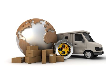 3D rendering of a world map with packages, a chronometer and a delivery van  photo