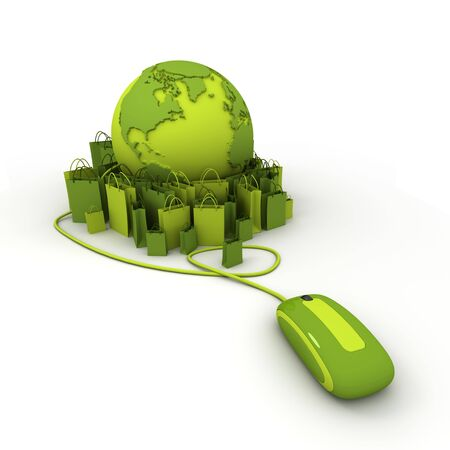 World globe connected to a computer mouse surrounded by shopping bags in green shades Stock Photo - 6631991