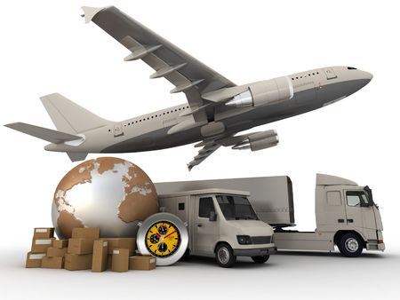 send parcel:  3D rendering of  a world map, packages, a chronometer vans, trucks, and an airplane