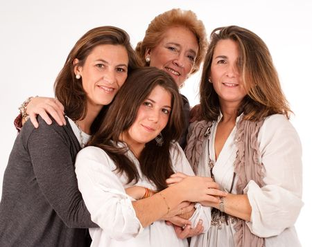 age forty:  Isolated image of four women of different generations   Stock Photo