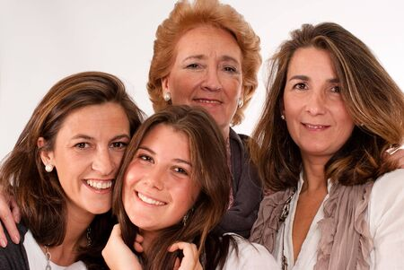 Isolated image of four women of different generations   photo