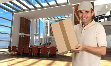 Messenger holding a cardboard box, with a sophisticated meeting room on the background   Stock Photo - 6677182