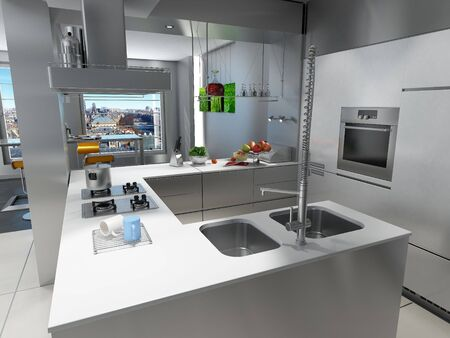 modern kitchen:  3D rendering of an impressive kitchen with a breathtaking urban view