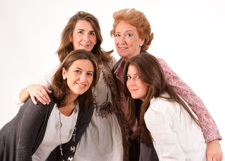 kadınlar:  Isolated image of four women of different generations   Stok Fotoğraf