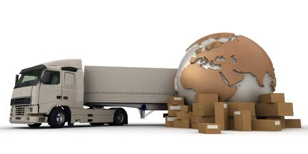 logistics world:  3D rendering of a world map, packages and a truck
