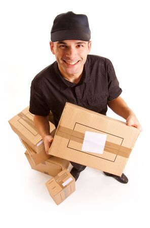send parcel:  Isolated image of a messenger delivering a lot of boxes