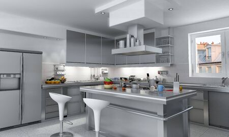kitchen illustration:  3D rendering of a modern industrial kitchen with island