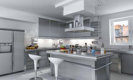 kitchen tools: 3D-weergave van een industriële keuken met eiland  Stockfoto