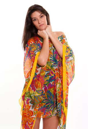 tunic:  Isolated portrait of a brunette in a colourful flowery tunic