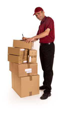 Isolated image of a messenger with clipboard and ball pen surrounded by packages  photo