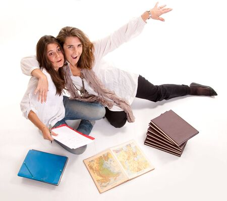 joking:  Isolated image of a mother joking with daughter during an exam preparation