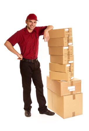 messenger:  Isolated image of a messenger in red delivering a lot of boxes  Stock Photo