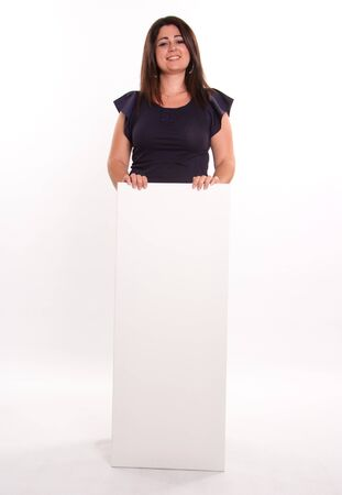 message board:  Brunette vertically holding a blank message board