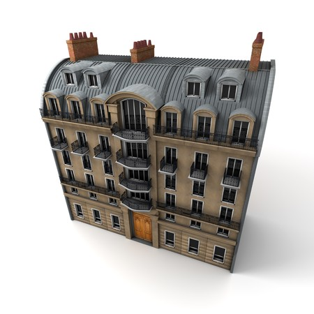typically:  3D rendering of a typically Parisian building