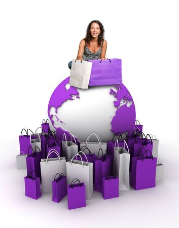 Young woman sitting at the top of the Earth surrounded with shopping bags  photo