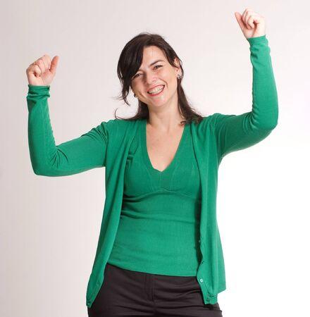 Portrait very happy brunette celebrating good news Stock Photo - 7153826