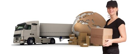 messenger:  A female messenger with a world map, packages and a truck as background  Stock Photo