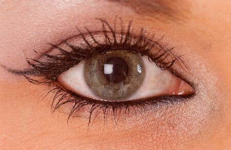 Close-up shot on a beautiful feminine green-blue eye   Stock Photo - 7153894