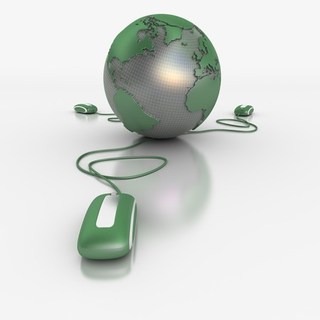 3D rendering of a world map connected to three computer mice Stock Photo - 7153834