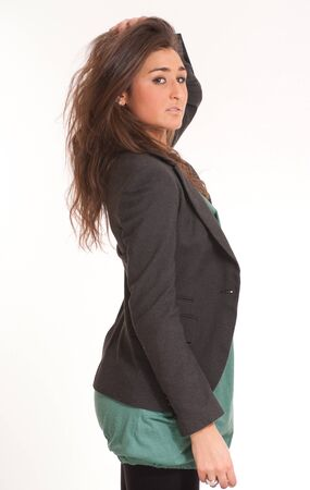 Portrait of a young brunette wearing a suit jacket  Stock Photo - 7258792