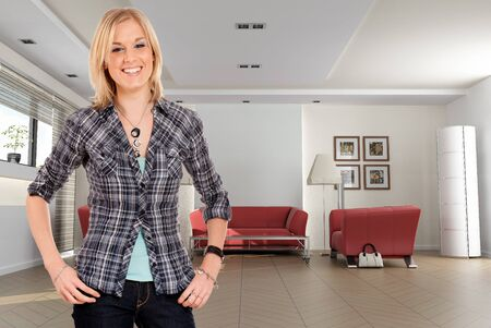 Young woman happy in her new apartment full of cardboard boxes Stock Photo - 7259031