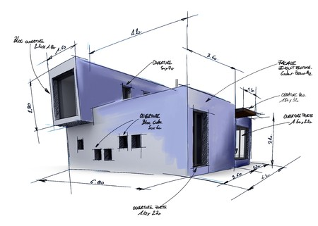 architectural model:  Illustration of a house project draft, with handwritten notes and drawings  Stock Photo