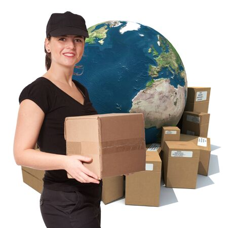 earth moving:  Female messenger holding a package with a world map and cardboard boxes as a background