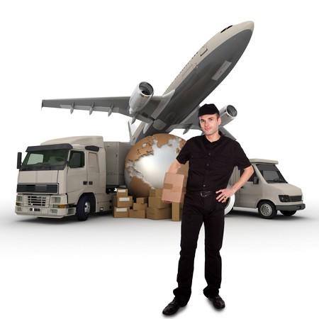 send parcel:  A messenger with a world map, packages, a van, a truck and an airplane as background