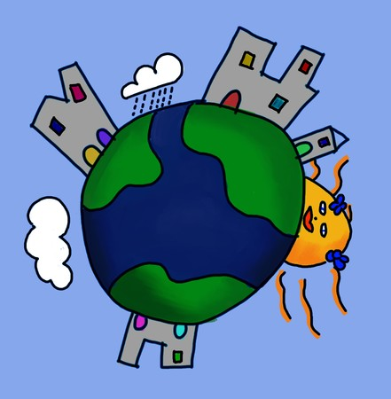 Illustration of the Earth seen from a child point of view  illustration