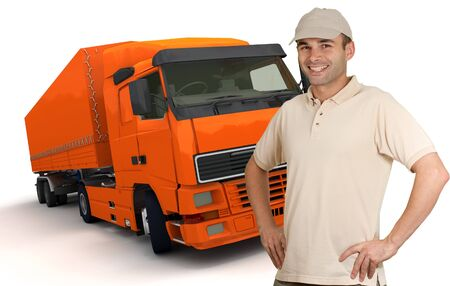 delivery driver:  Isolated image of a man in front of an orange trailer truck